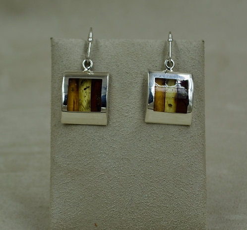 Amber Mosaic & Sterling Silver Rounded Squares Earrings by MTM Silver