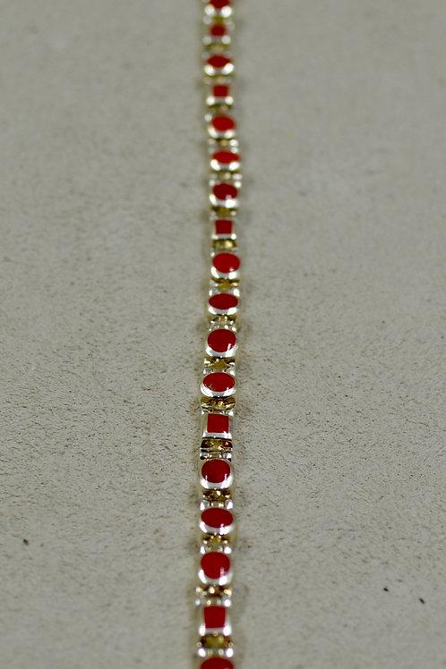 Mini Multi-Shaped Coral Tennis Bracelet by Peyote Bird