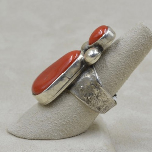 Sterling Silver & Coral Goddess 7X Ring by Jerry Faires