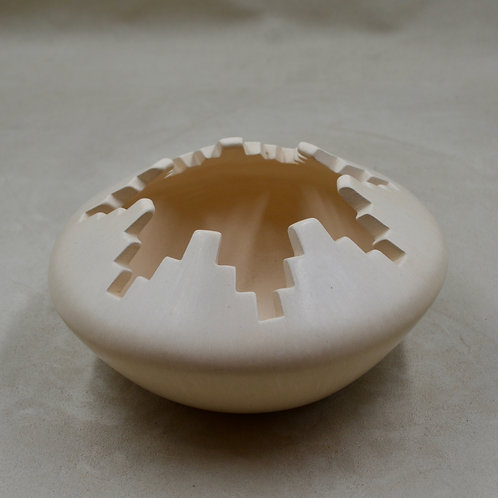 Off White Kiva Steps Pot by Caroline Carpio - Isletta Pueblo