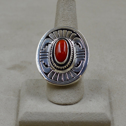 Mediterranean Coral & Sterling Silver 8.5x Ring by Leonard Nez