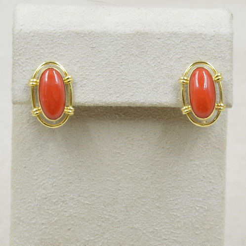 18k Gold Medium Coral French Clip Posts Earrings