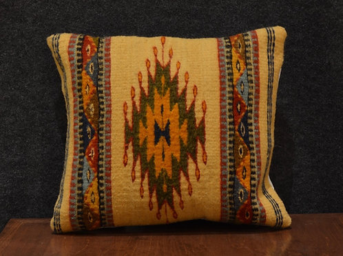 Set of 2 Centered Geometric Yellow & Green Zapotec Peanut Pillows