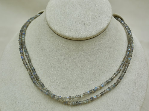 Double Labradorite & Sterling Silver Faceted Necklace by Sanchi & Filia