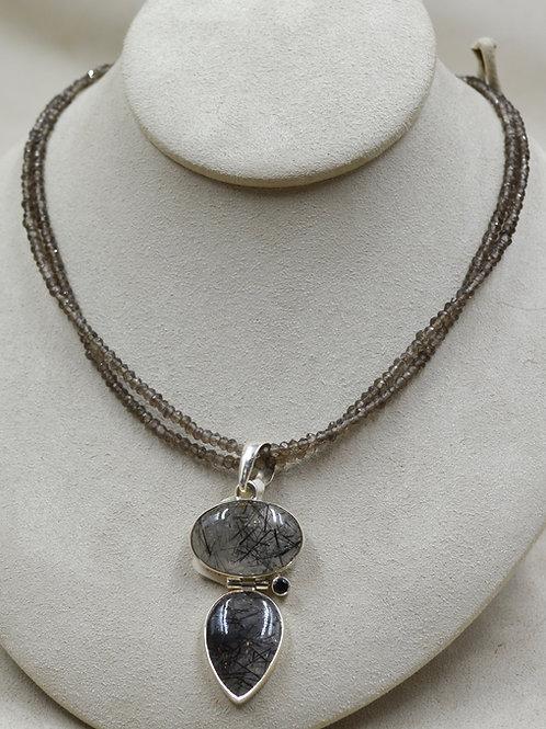 Sterling Silver Double Line Semi-Precious Smoky Quartz Necklace - Sanchi & Filia