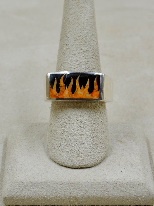 Flame 10.5x Ring w/ S. Silver w/ Black Jade, Spiny Oyster by GL Miller