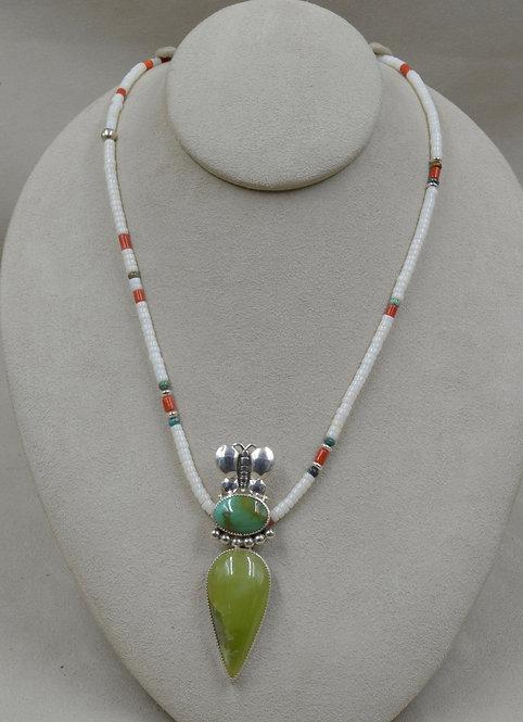 Prehnite, Mediterranean Coral, Kingman Turquoise Necklace by Jacqueline Gala