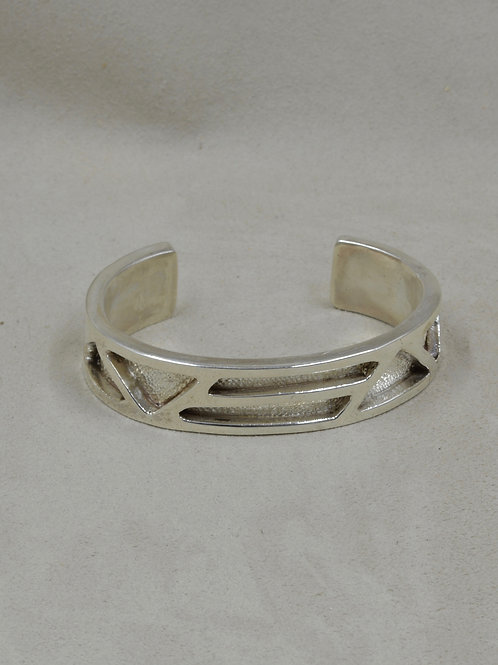 All Sterling Silver Overlay Pattern Cuff by JP Arviso