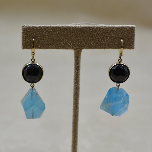 14k White Gold, Black Spinel & Aquamarine Nuggets Earrings by Reba Engel