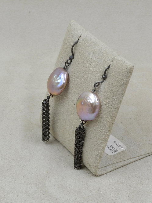 Cultured Freshwater Pearl Baroque Coin Pearl on S.S. Chain by US Pearl Co