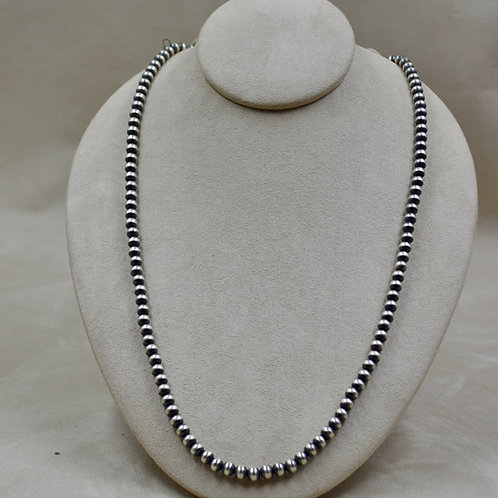 """Navajo Pearls Oxidized Sterling Silver 6mm Beads 36"""" Necklace"""