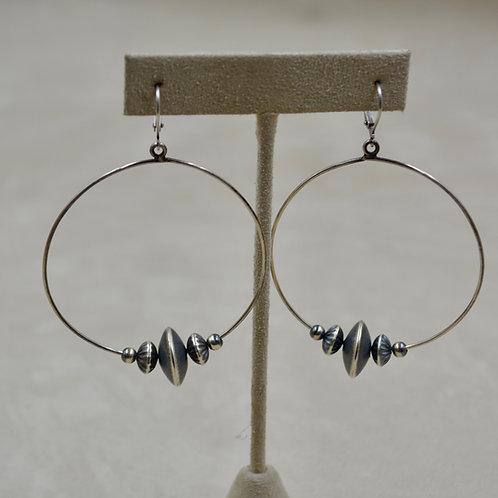 Navajo Pearl Oxidized Sterling Silver 5 Bead Large Hoop Dangle Earrings