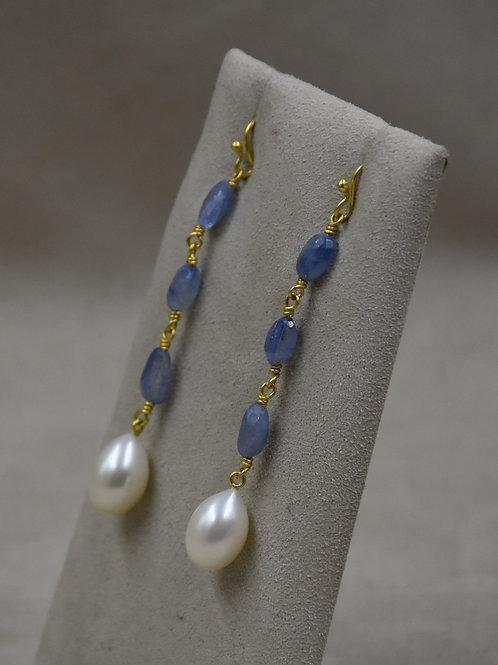 20/22k Gold Ceylon Saphires, Lit Blue, w/ Pearl Drops Earrings by Pamela Farland