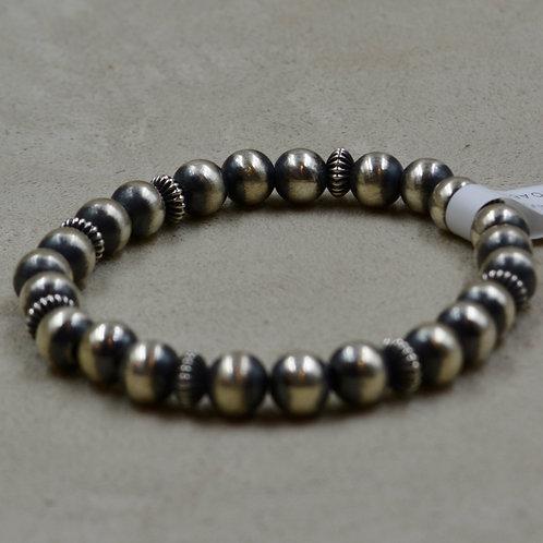 Oxidized Stretch 6mm S. Silver Bracelet w/ Corrugate Saucers by Shoofly 505