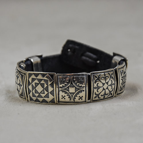 "3/4"" Sterling Silver Square Conchos on Leather Bracelet by Rick Montano"
