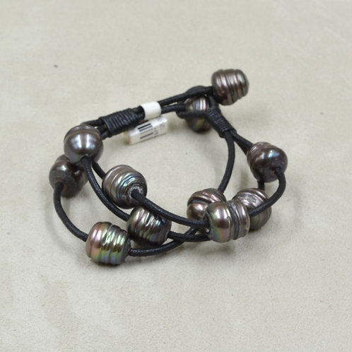 Cultured Freshwater Enhance Pearled Bracelet on Black Leather by US Pearl Co.