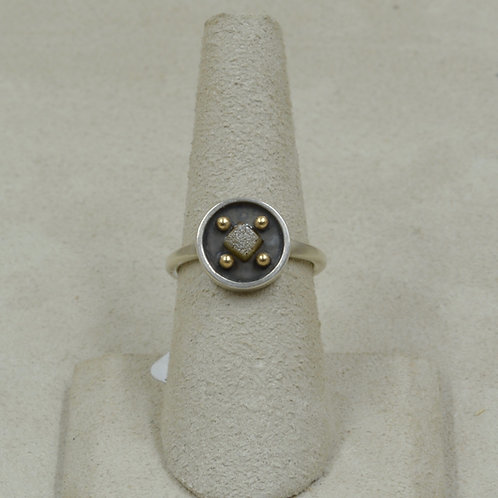 18k Gold, Raw Diamond and Sterling Silver 6.5x Ring by Joe Glover