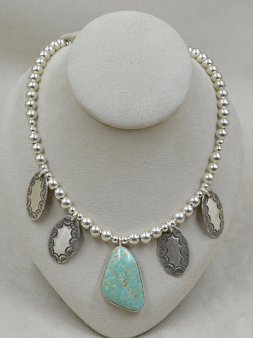 SS Concho w/ Royston Turquoise Earrings & Necklace Set by Jacqueline Gala