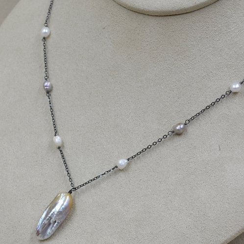 Freshwater Pearls on Black Chain by US Pearl Co.