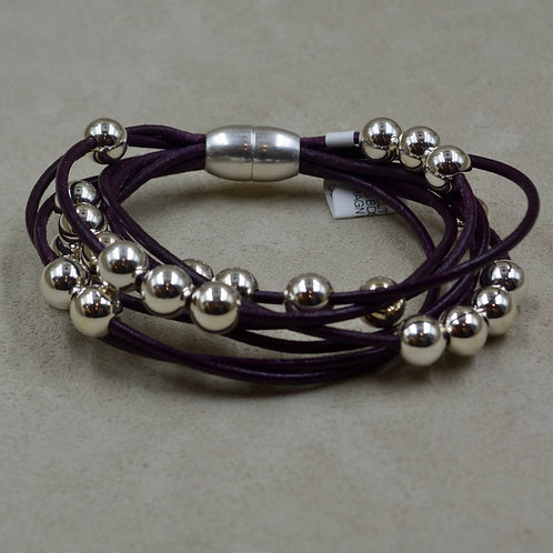 Eggplant Multi-Strand Sterling Silver Beaded Bracelet by Sippecan Designs