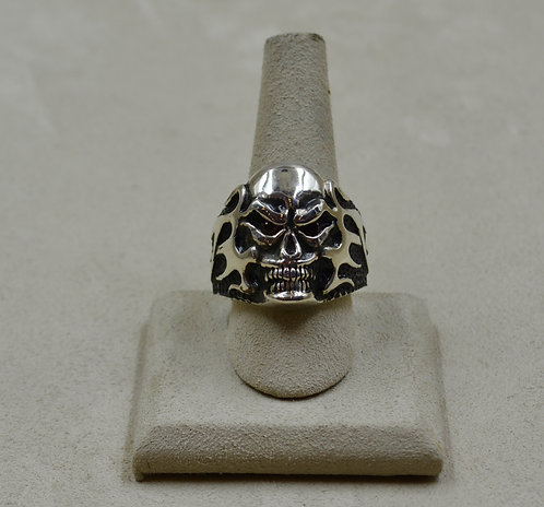 Sterling Silver Flame Skull w/ Ant Hill Eyes 11x Ring by JL McKinney