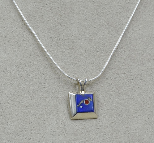Small Square Lapis & Coral Pendant by Veronica Benally