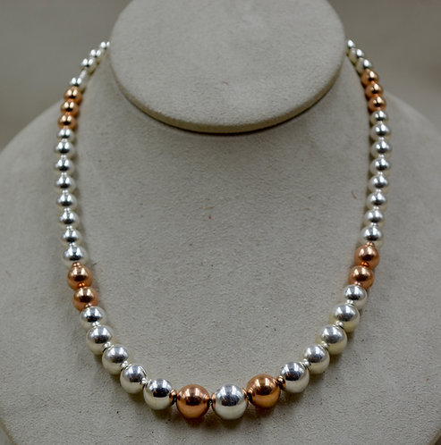 Graduated SS & 14k Rose Gold Filled Beaded Necklace by Sippecan Designs