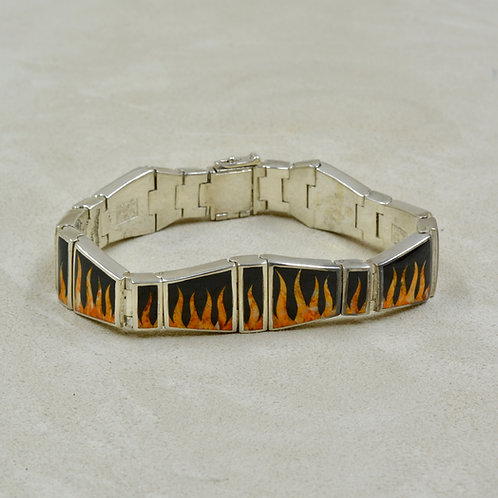 Flame Link Bracelet w/ S. Silver w/ Black Jade, Spiny Oyster by GL Miller