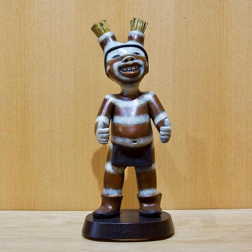 """""""Thumbs Up Koshare""""  Bronze Sculpture by Kathleen Wall, Jemez Pueblo"""