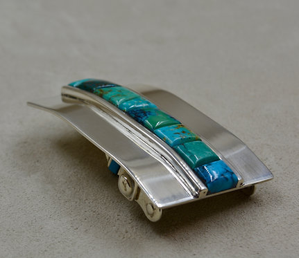 """Natural Kingman Turquoise Raised Inlay Buckle (Fits 1"""" Buckle) by John Rippel"""