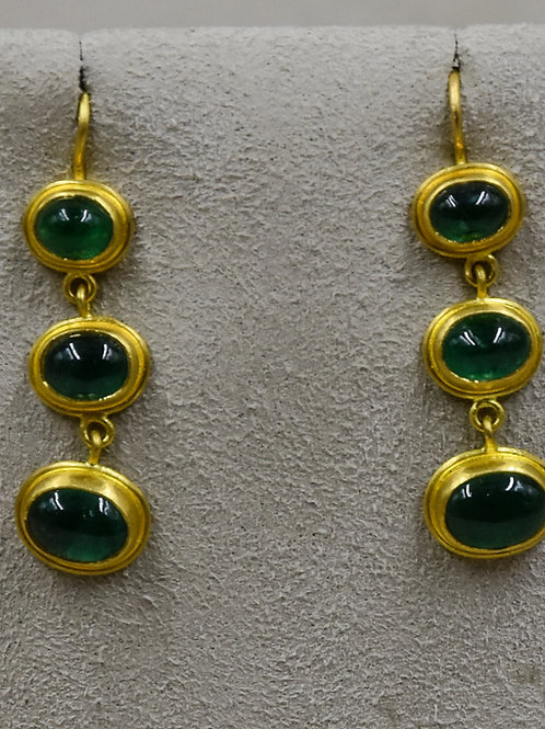 20/22k Gold and Indian Emerald Cab Drops Earrings by Pamela Farland