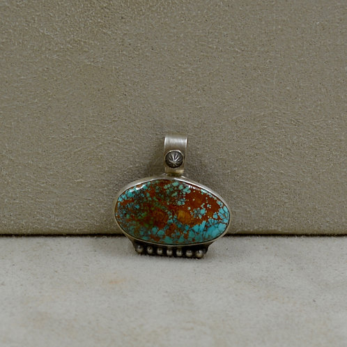 National Oval Pilot Mountain Turquoise & S. Silver Shot Pendant by Joe Glover