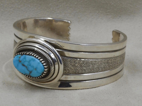 Sterling Silver Feather Cuff with Natural Kingman Turquoise by Leonard Nez