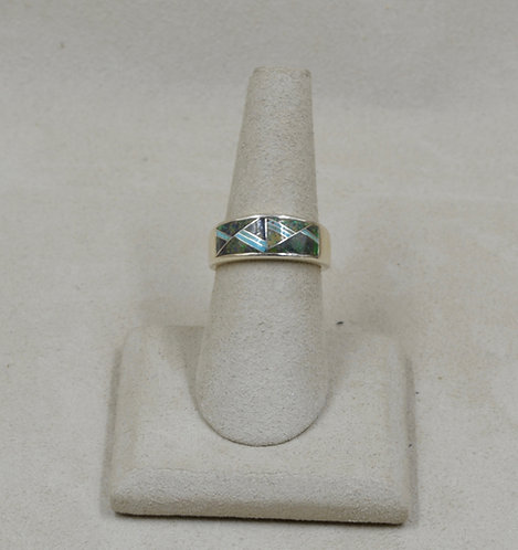 Lab Opal, Turquoise, & Sterling Silver 7x Ring by GL Miller Studio