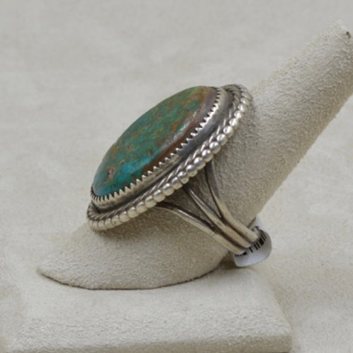 Oval Cerillos Turquoise w/ Rope Border 10.5X Ring by Jerry Faires