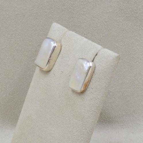 Sterling Silver Tablet Freshwater Pearl Earrings by Richard Lindsay