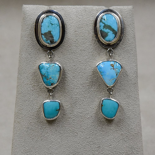 Hi-Grade Mixed Turquoise 3 Stone Drop/Posts Earrings by Richard Lindsay