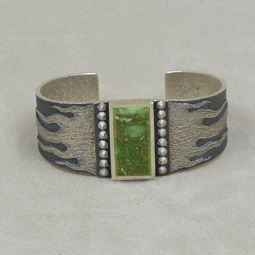 Sterling Silver Tufa w/ Green Fox Turquoise Cuff by Ric Charlie
