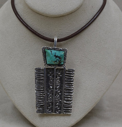 Sterling Silver Tufa w/ Natural Stormy Mountain Turquoise by Cheryl Arviso