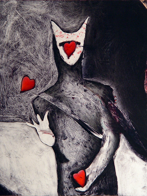"""""""Magician and the Three of Hearts"""" Monotype"""