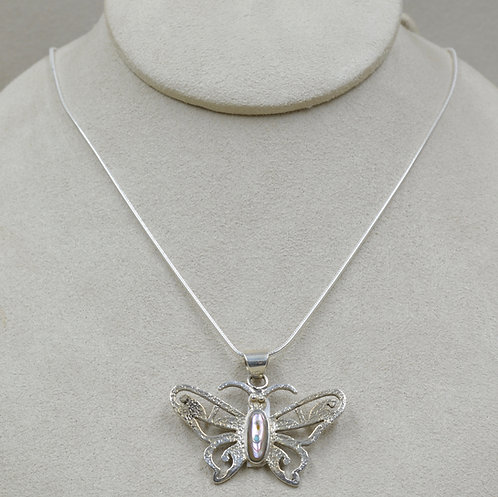 Mother of Pearl & Sterling Silver Butterfly Pendant by Veronica Benally