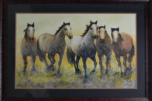 "'Five's Company' - Framed Watercolor & Acrylic - 26"" x 37"" - by John Saunders"