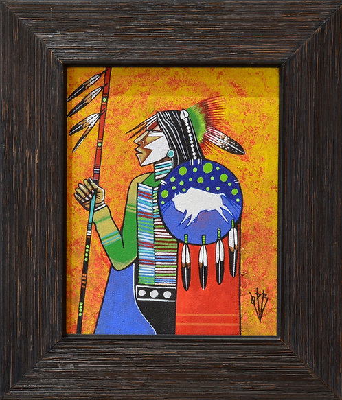 """Comanche Warrior"" Ac on Canvas Framed 14"" x 12.5"" - by Quanah Parker Burgess"