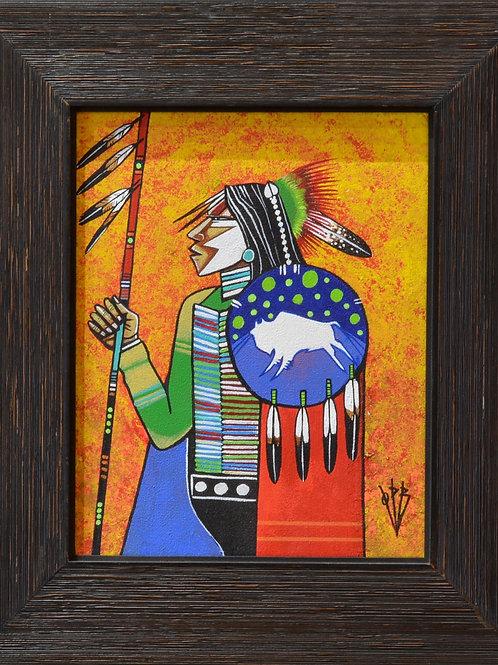 """Comanche Warrior"" Ac on Canvas Framed 14"" x 12.5"" - by Quanah Parker Burgess"