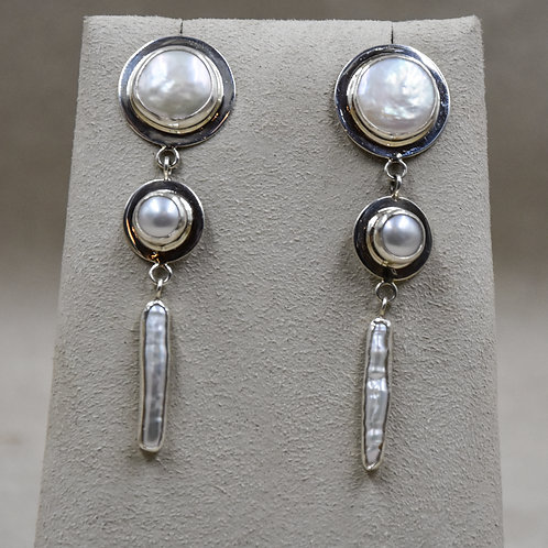 3 Piece Freshwater Pearl Drop Post Earrings by Richard Lindsay