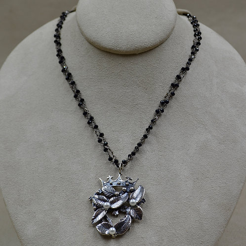 Crowns & Flowers Oxi. Silver, Spinel, White Topaz Necklace by Michele McMillan