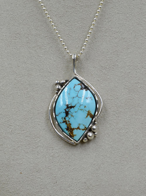 Natural Chinese Turquoise & Sterling Silver Pendant by Jacquline Gala