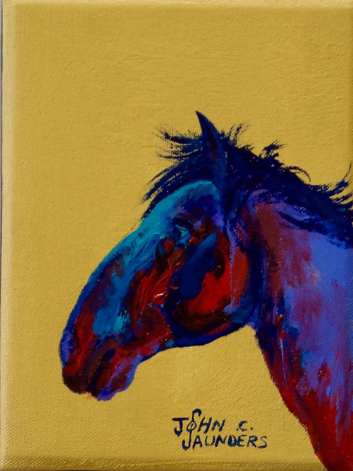 """'Left Profile on Yellow' - Acrylic on Canvas - 8"""" x 6"""" - by John Saunders"""