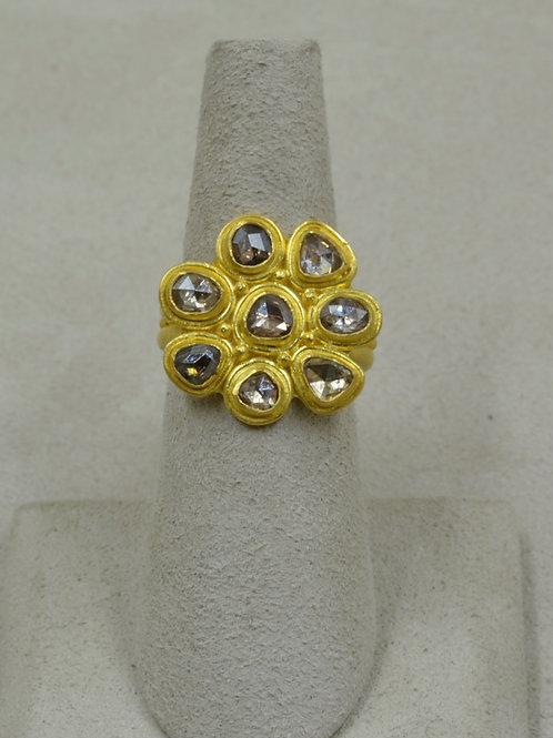 Rosecut Champagne w/ Cognac Diamonds 1.5Cts 6.25x Ring by Pamela Farland