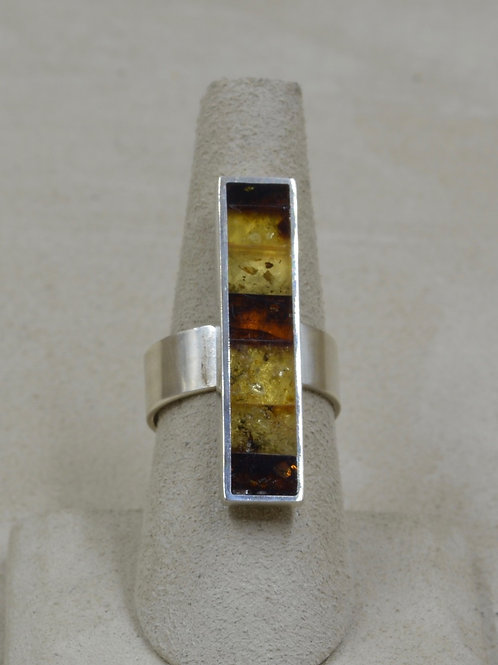 Brown Amber & Sterling Silver Mosaic Skinny Stick Adjust. Ring by MTM Silver